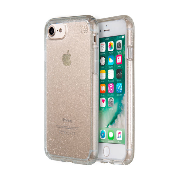 lowest price c2650 4c566 Speck Presidio for iPhone 7 Clear Glitter Clear With Gold Glitter ...